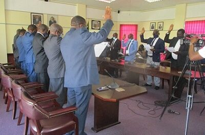 Oshana swears councilors in, elects three to National Council